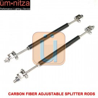 Carbon Fiber Adjustable Front Bumper Lip Spoiler Splitter Strut Rods 8-10.6 Inch