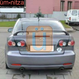 Fits 03-08 Mazda 6 Mazda6 4Dr HB OE ABS Trunk Spoiler&LED 3rd Brake Light