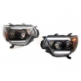 2012-2015 Toyota Tacoma LED Plasma Light Bar Black Projector Headlights X Pre Runner