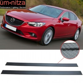 Fits 14 Mazda 6 Carbon Fiber Texture Side Skirts Extension Flat Bottom Line Lip