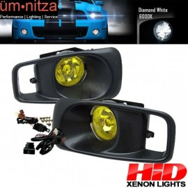 6000K Hid Fits Honda Civic 99-00 EK JDM Driving Fog Lights Kit Yellow Lens RH LH