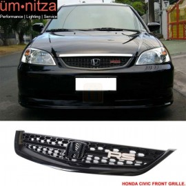 Fits 01-03 Honda Civic Type RS Black ABS Front Hood Grille Grill Mesh
