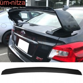 Fits Subaru WRX STI Top Gurney Flap Add-On Trunk Spoiler Wing Matte Black FRP