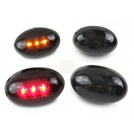 1999-2010 Ford F350 F450 SuperDuty 4 PC Smoke Lens Front Amber and Rear Red LED Bumper Side Marker Light