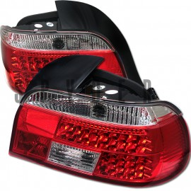 1997-2000 BMW E39 5-Series Red Clear Housing LED Tail Lights