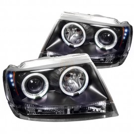 1999-2004 Jeep Grand Cherokee Black Housing Dual Halo Angel Eyes